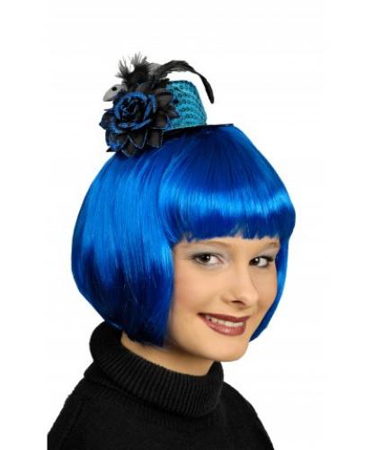 Голубая мини-шляпка с цветком (Франция)