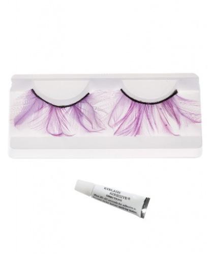 Накладные ресницы с фиолетовыми перьями