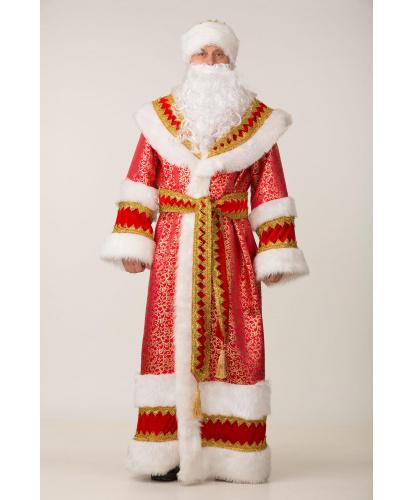 Костюм Дед Мороз Княжеский: шуба, пояс, шапка, мешок, борода (Россия)