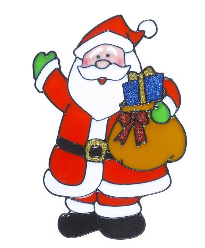 Новогодний стикер на окно Дед Мороз с подарками