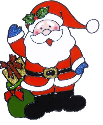 Новогодний стикер на окно Дед Мороз с мешком подарков
