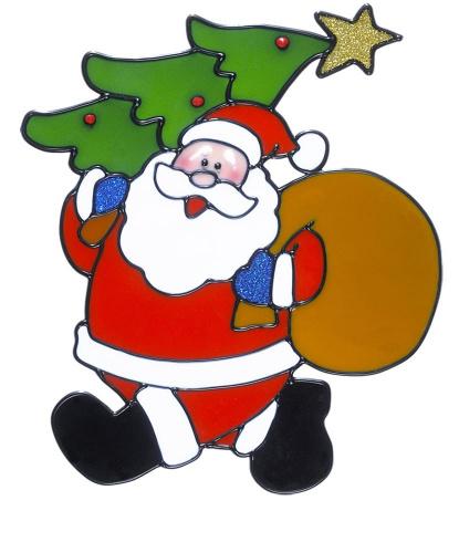 Новогодний стикер на окно Дед Мороз с мешком и елкой