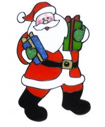 """Новогодний стикер на окно """"Дед Мороз с двумя подарками"""""""
