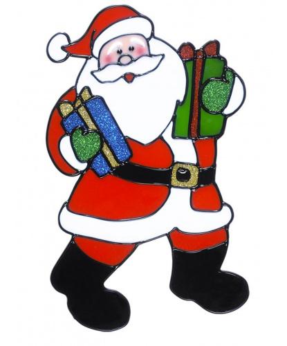 Новогодний стикер на окно Дед Мороз с двумя подарками