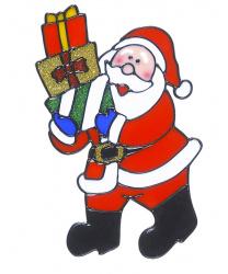 """Новогодний стикер на окно """"Дед Мороз с тремя подарками"""""""