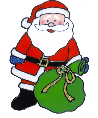 Новогодний стикер на окно Дед Мороз с большим мешком