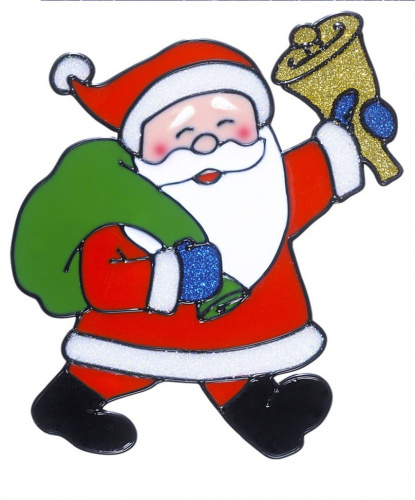 Новогодний стикер на окно Дед Мороз с колокольчиком