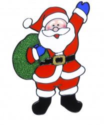 """Новогодний стикер на окно """"Дед Мороз с зел. мешком"""""""