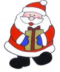 "Новогодний стикер на окно ""Дед Мороз с большим подарком"""