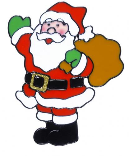 Новогодний стикер на окно Дед Мороз с мешком
