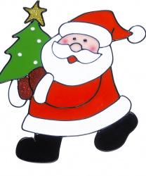 """Новогодний стикер на окно """"Дед Мороз с елкой"""""""