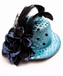Голубая мини-шляпка с цветком