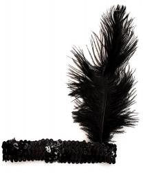 Черная блестящая повязка с пером