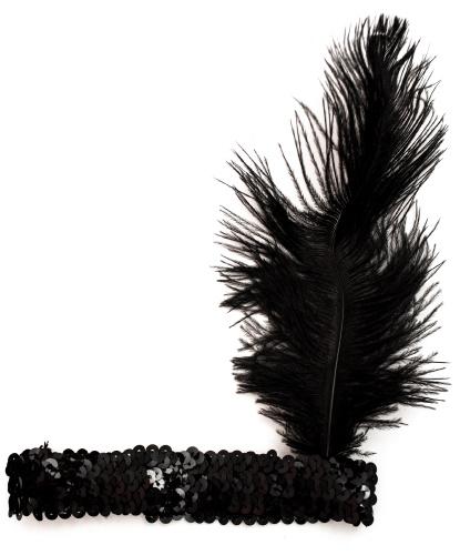 Черная блестящая повязка с пером : черный (Италия)
