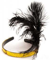 Ободок на голову с перьями (золотой)