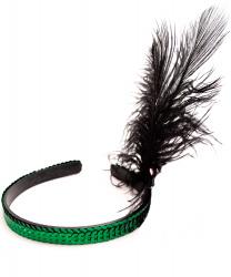 Ободок на голову с перьями (зеленый)