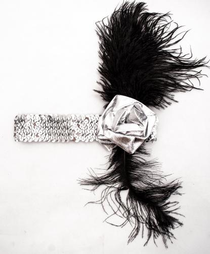 Повязка в стиле Чикаго серебряная: серебряный (Италия)