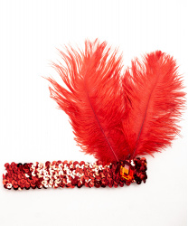 Красная повязка со стразом и перьями