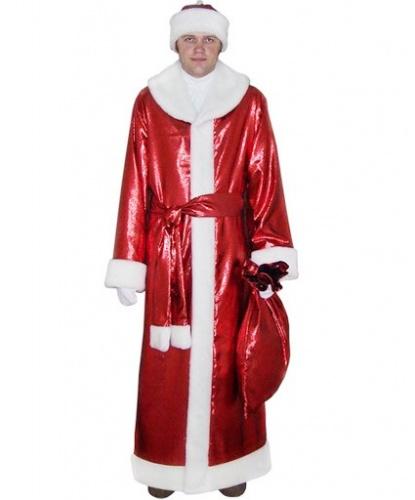 Новогодний костюм Деда Мороза: головной убор, кушак, мешок, перчатки, шуба (Россия)