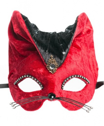 Красная маска Gatto, стразы, ткань, папье-маше, пайетки (Италия)