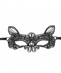 Черная кружевная маска с ушками