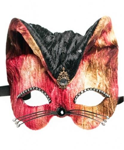 Разноцветная маска Gatto, пайетки, стразы, ткань, папье-маше (Италия)