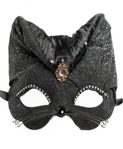 Черная маска Gatto с блестками, ткань, папье-маше, стразы, пайетки (Италия)