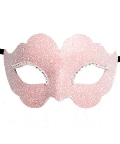Розовая венецианская маска, стразы, папье-маше (Италия)