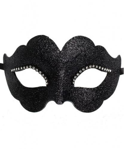 Черная венецианская маска, папье-маше, стразы (Италия)