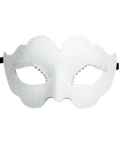 Белая венецианская маска, папье-маше, стразы (Италия)