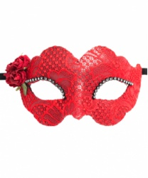 Красная маска Colombina Fiore, стразы, ткань, папье-маше (Италия)