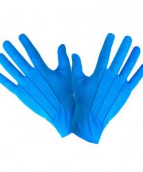 Короткие, голубые перчатки