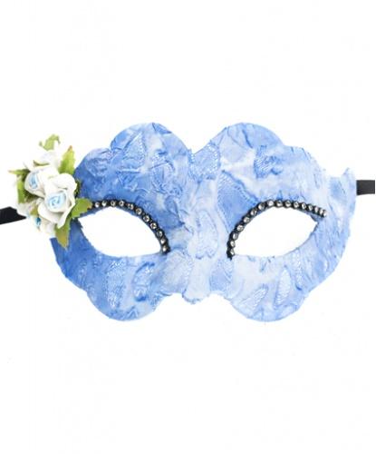 Голубая маска Colombina Fiore, стразы, ткань, папье-маше (Италия)