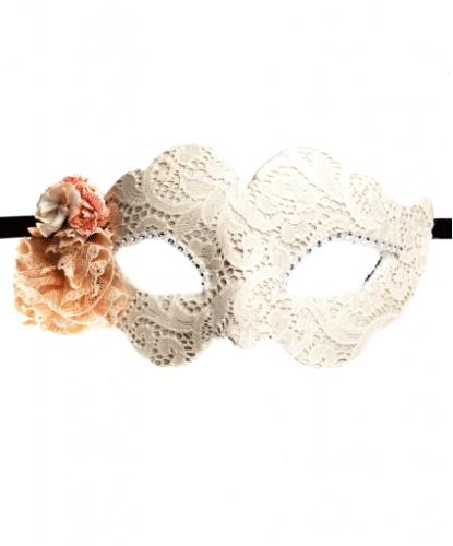 Бежевая маска Colombina Fiore, стразы, ткань, папье-маше (Италия)