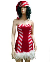 Короткое платье Санты с перьями