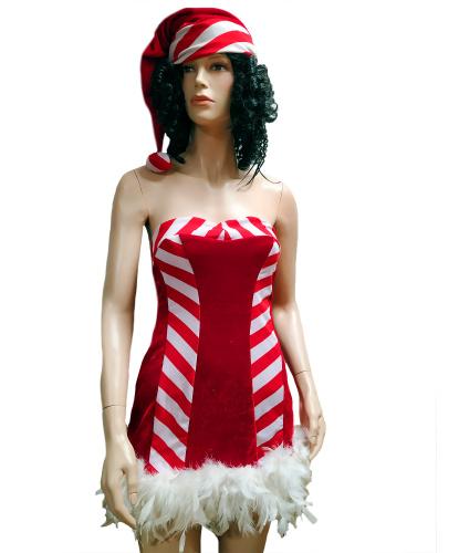 Короткое платье Санты с перьями: колпак, платье (Китай)
