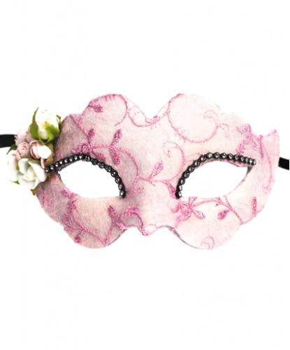Розовая маска Fiore, стразы, ткань, папье-маше (Италия)