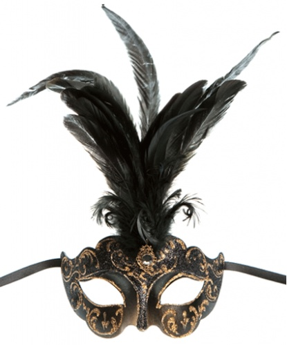 Коричневая маска Colombina Ciuffo, перья, стразы, папье-маше (Италия)