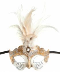 Бежевая маска Colombina Ciuffo, перья, папье-маше (Италия)