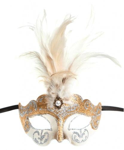 Бежевая маска Colombina Ciuffo, папье-маше, перья (Италия)