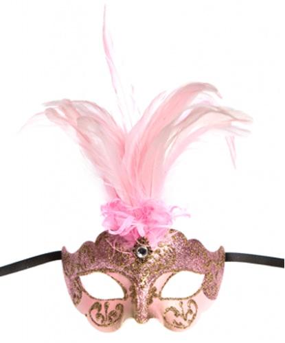 Розовая маска Colombina Ciuffo, папье-маше, перья (Италия)