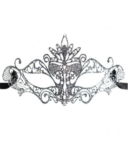 Серебряная маска Colombina Pavone, стразы, металл (Италия)