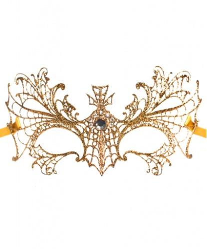 Золотая маска Colombina Ragnatela, стразы, металл (Италия)