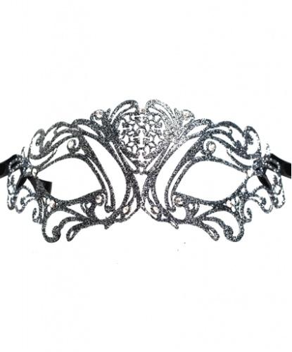 Венецианская темно-серая маска Maschile, стразы, металл (Италия)