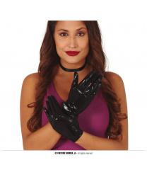 Черные перчатки с блеском