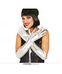 Длинные серебряные перчатки