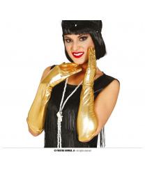 Длинные золотые перчатки
