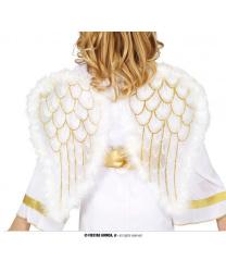 Белые крылья ангела с золотым узором
