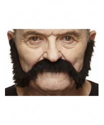 Черные усы с бакенбардами