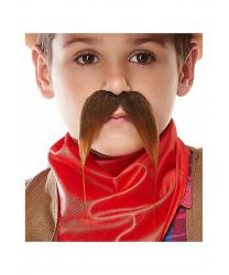 Детские длинные усы изогнутые вниз, коричневые